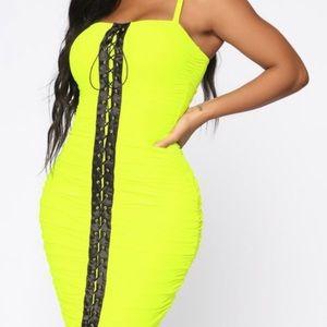 Midi rouched neon fashion nova dress